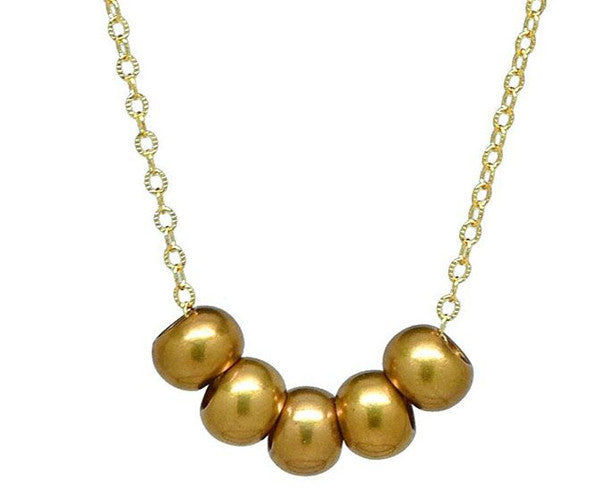 Gold Brass Bead Necklace