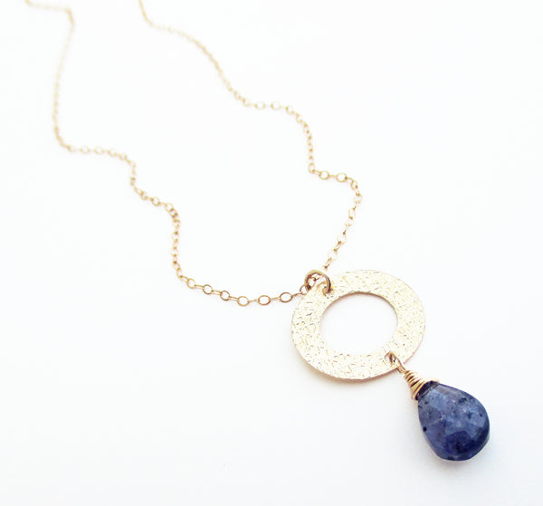 Blue Iolite Teardrop Gold Necklace