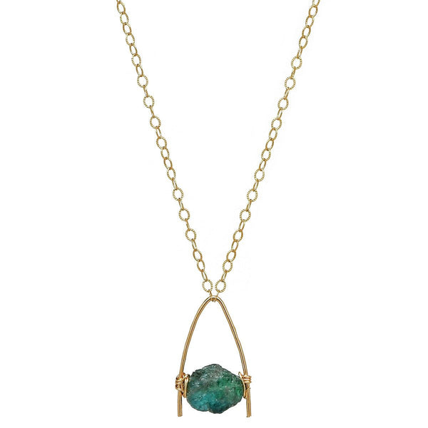 Rough Green Emerald Gold Necklace