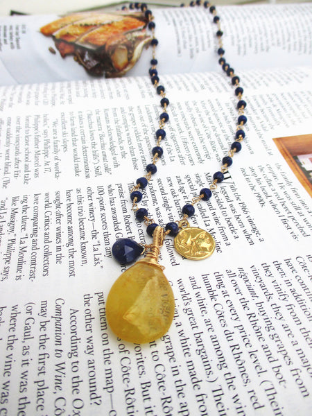 Long Lapis Gold Necklace