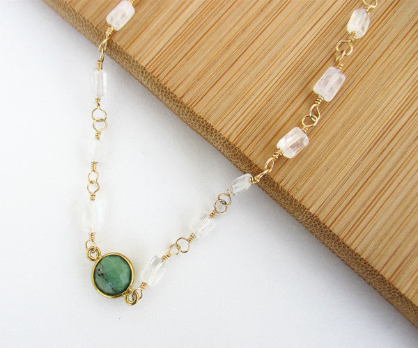 Chrysoprase and Moonstone Gold Necklace