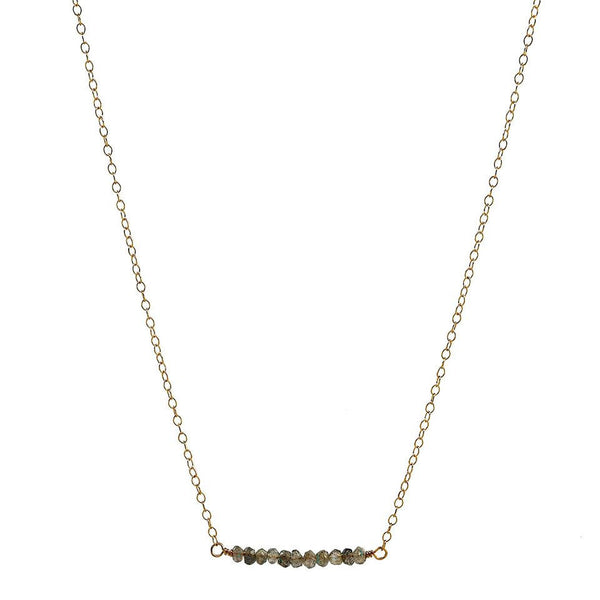 Gold Labradorite Bar Necklace
