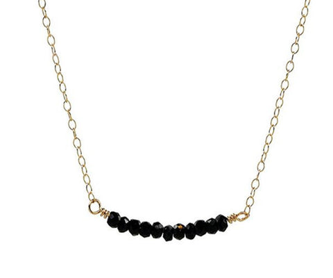 Black Spinel Bar Gold Necklace