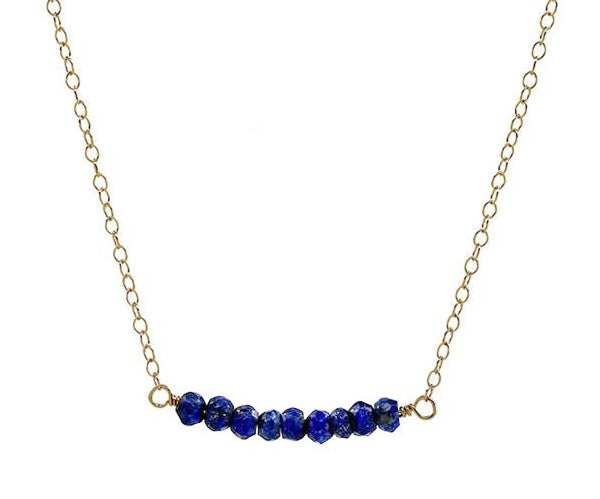 Lapis Bar Gold Necklace