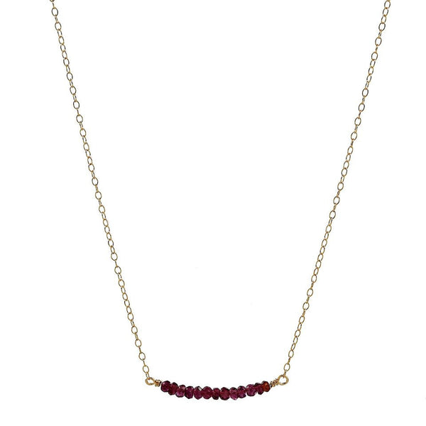 Red Garnet Bar Gold Necklace