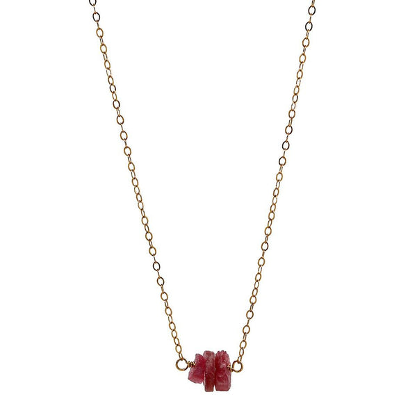 Rough Pink Tourmaline Gold Necklace