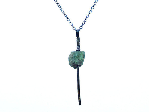 Sterling Silver Rough Emerald Pendant Necklace, Oxidized
