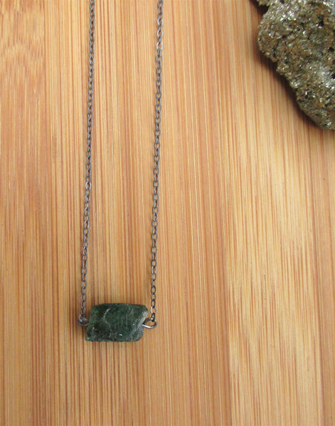Sterling Silver Rough Green Emerald Necklace