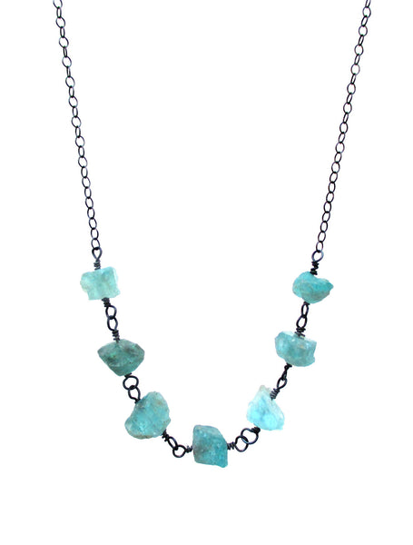 Rough Blue Apatite Sterling Silver Necklace