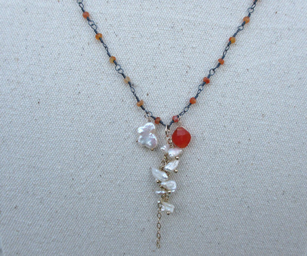 Pearl Carnelian Sterling Silver Necklace