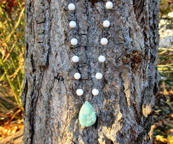 Blue Druzy and Shell Pearl Silver Long Necklace