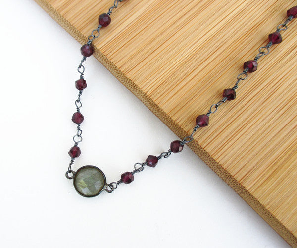 Labradorite and Red Garnet Sterling Silver Necklace