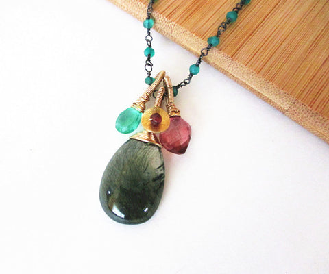 Onyx and Green Rutilated Quartz Sterling Silver Necklace