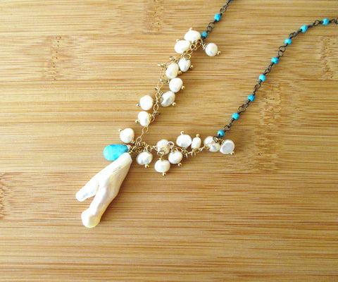 Sterling Silver Turquoise and Pearl Necklace