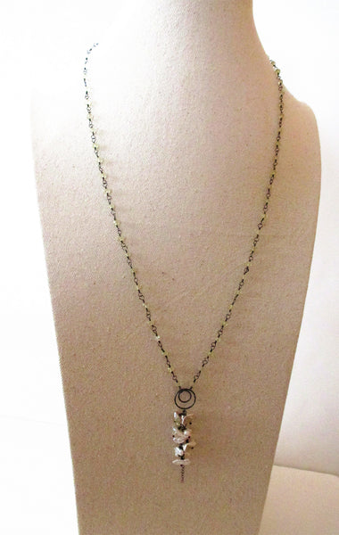 Lemon Quartz Fresh Pearl Sterling Silver Necklace