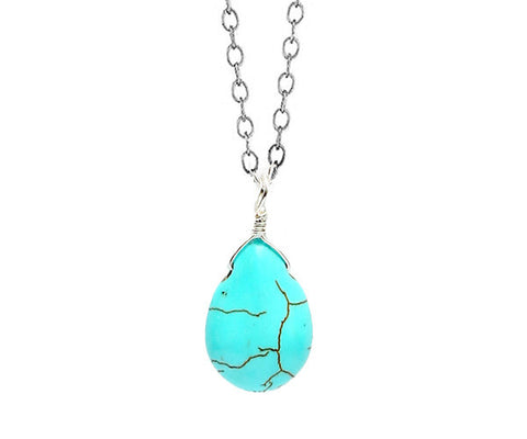 Sterling Silver Turquoise Teardrop Necklace