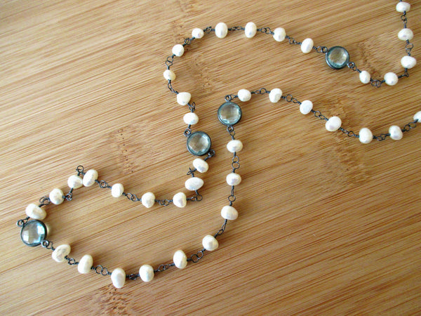 Sterling Silver Aquamarine and Pearl Necklace