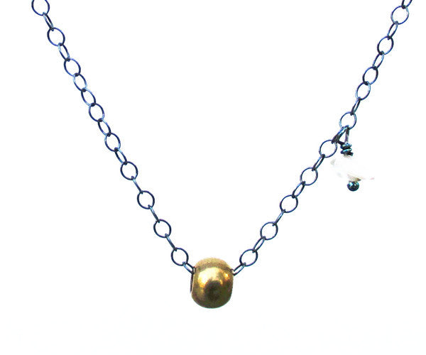 Pearl Gold Brass Bead Sterling Silver Necklace