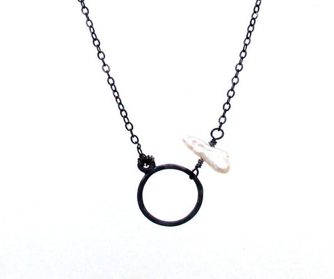 Pearl Accented Circle Sterling Silver Necklace
