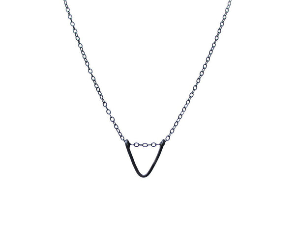 Sterling Silver V Drop Necklace