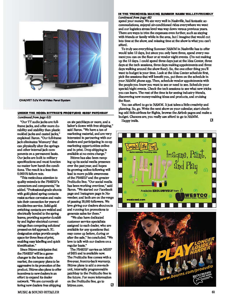 Bittree ProStudio PS4825F Patchbay Featured in Music & Sound Retailer 09/17