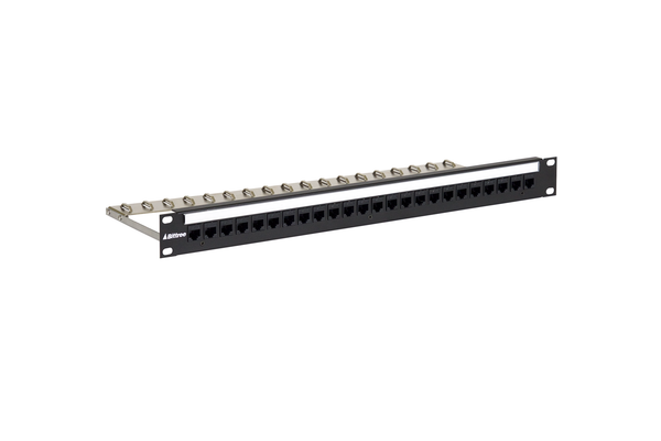 Flush-Mount Modular Keystone Panel, CAT 6, Feed-Through, Unshielded, 1x24, 1 RU
