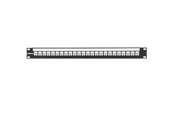 Flush-Mount Modular Keystone Panel, CAT 6, 110 Punchdown, Unshielded, 1x24, 1 RU