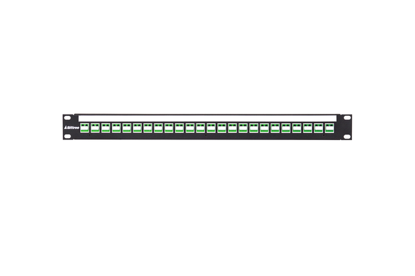 Flush-Mount Modular Keystone Panel, Duplex LC to LC Fiber, 1x24, 1 RU, Green