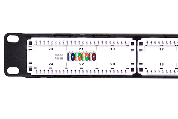 Flush-Mount Gigabit Ethernet Panel, CAT 6, 110 Punchdown, Unshielded, 1x24, 1 RU