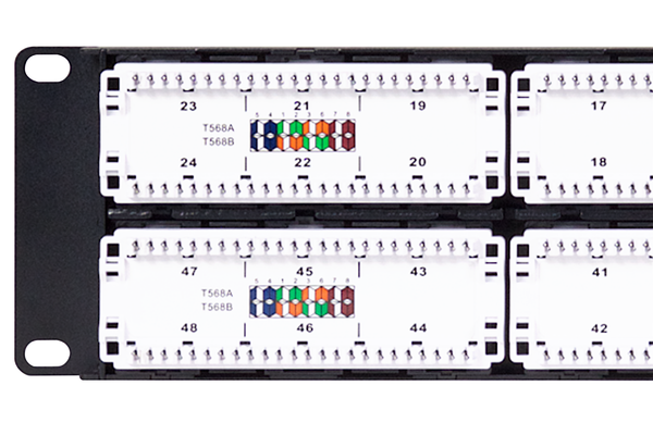 Flush-Mount Gigabit Ethernet Panel, CAT 6, 110 Punchdown, Unshielded, 2x24, 2 RU