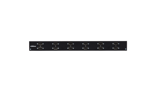 Internally Programmable RS-422 Patchbay, 2x6, 1 RU, DE-9 Rear Interface