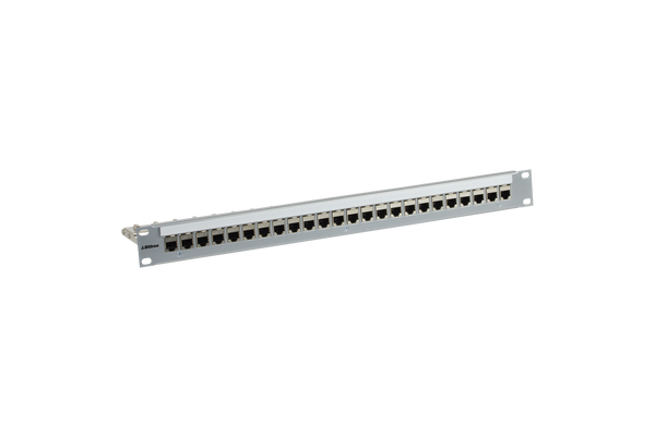 Flush-Mount Modular Keystone Panel, CAT 6, Feed-Through, Shielded, 1x24, 1 RU