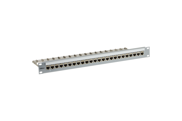 Flush-Mount Modular Keystone Panel, CAT 6A, 110 Punchdown, Shielded, 1x24, 1 RU