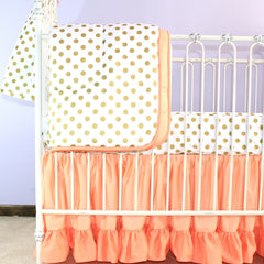 Coral Sunset and Papaya With Gold Dots Baby Bedding