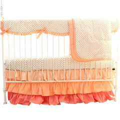 Coral and Metallic Gold Dots Baby Bedding