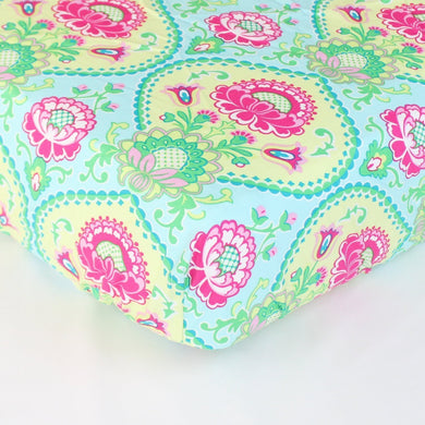 Aqua Floral Lavinia Fitted Crib Sheet - Fits Standard Crib Mattresses and Daybeds