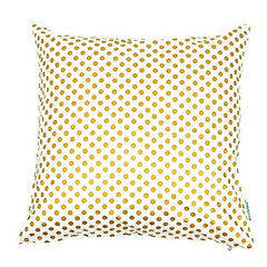 Bold Bedding Metallic Gold Dots Square 16 inch Throw Pillow Cover-Home-16x16-Gold-Bold Bedding
