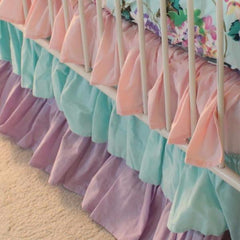 Cordelia's Girl Baby Bedding Crib Skirt | Floral Pastel Pink Blue Lavender-Crib Skirt-Bold Bedding