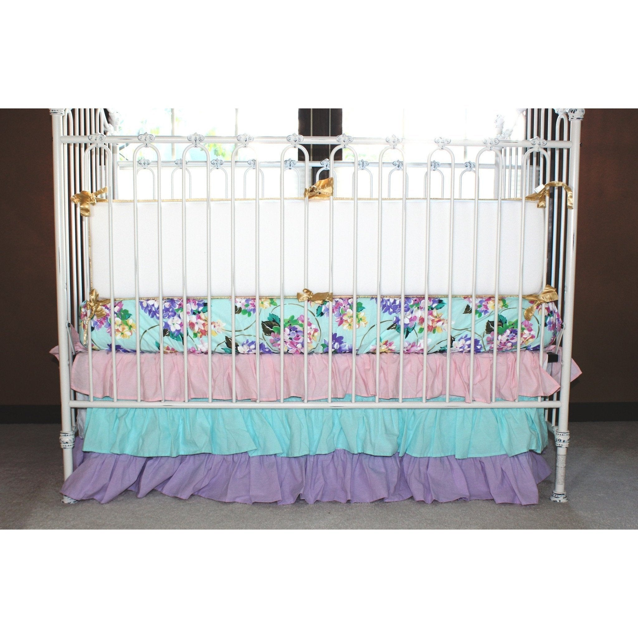 piece b lavender bedding floral creative purple bumper with huge set poppy cribs crib sheets