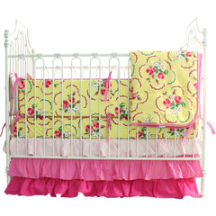 Crib Bedding Set: Emma's Yellow and Pink Floral | Bold Bedding-Crib Bedding Set-Sheet Skirt & Bumper-Bold Bedding