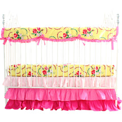 Crib Bedding Set: Emma's Yellow and Pink Floral | Bold Bedding-Crib Bedding Set-Sheet Skirt & Rail Cover-Bold Bedding