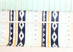 Flat Panel Tailored Crib Skirt | Navy and Mint Aztec Nursery-Crib Skirt-Bold Bedding