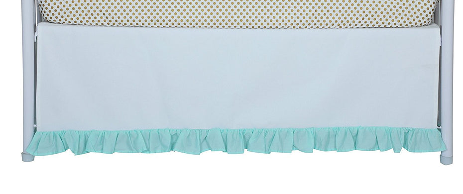 Flat White Denim Bottom Ruffle Crib Skirt