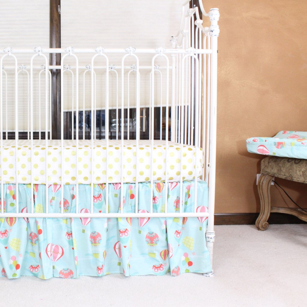 jack balloon baby sheet theme crib aqua bold products sheets only coral set hot bumperless air cribs bedding