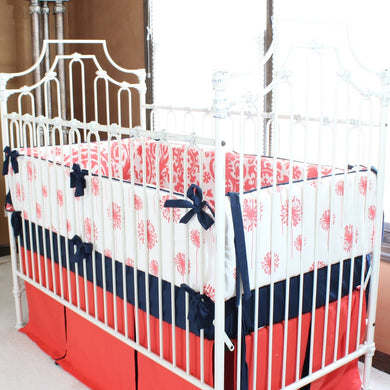 Levy's Dandelion Damask Baby Bedding | Coral, Navy Crib Bedding Set