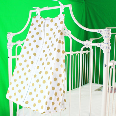Medium Metallic Gold Dots Diaper Stacker Cotton (White Edges)