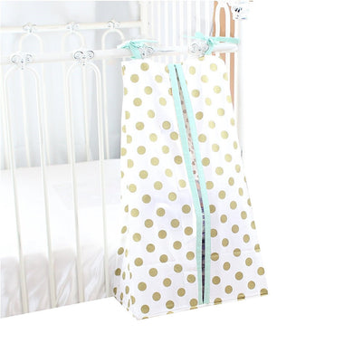 Metallic Medium Gold Dots Diaper Stacker Cotton (Mint Edges)