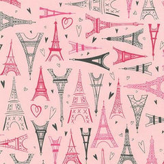 Paris Adventure Fabric in Pink | 100% Cotton-Fabric-Bold Bedding