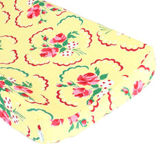 Retro Floral Yellow and Pink Changing Pad Cover - Fits Standard Contoured Changing Pads - 100% Soft Premium Cotton-Baby Product-Pink/Yellow-Bold Bedding