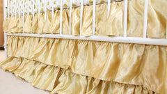 Solid 3 Tiered Ruffled Satin Crib Skirt - Fits standard cribs-Baby Product-Gold-Bold Bedding